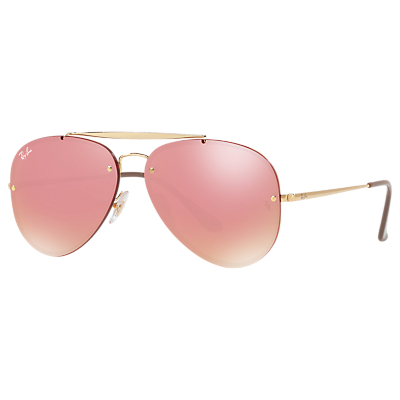 Ray-Ban RB3584N Unisex Blaze Aviator Sunglasses, Gold/Mirror Pink