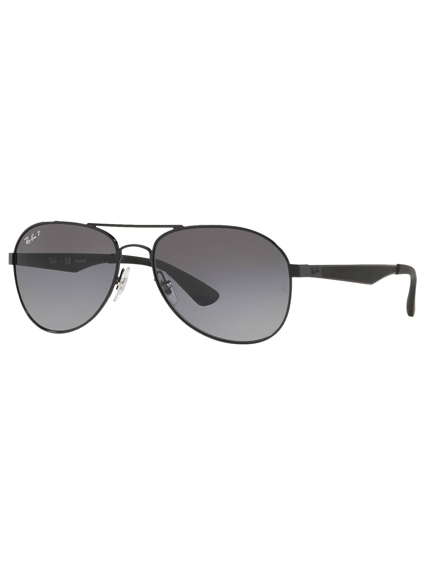 9e80d384b Buy Ray-Ban RB3549 Polarised Aviator Sunglasses, Shiny Black/Grey Gradient  Online at ...