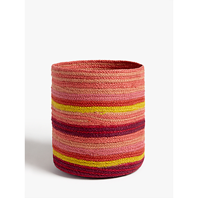 John Lewis & Partners Fusion Jute Striped Storage Basket