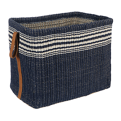 John Lewis & Partners Coastal Jute Storage Basket, Navy