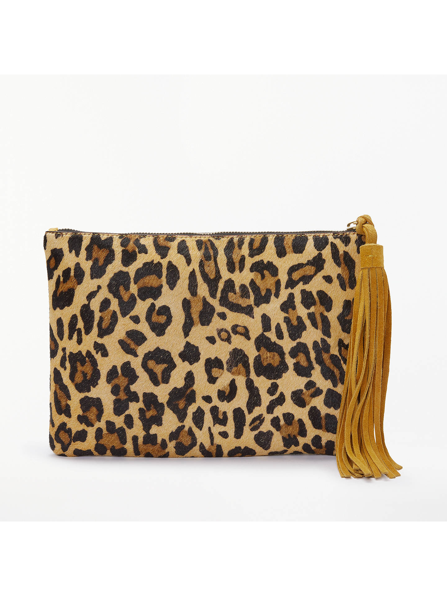 BuyAND/OR Isabella Pony Clutch Bag, Ochre/Leopard Online at johnlewis.com