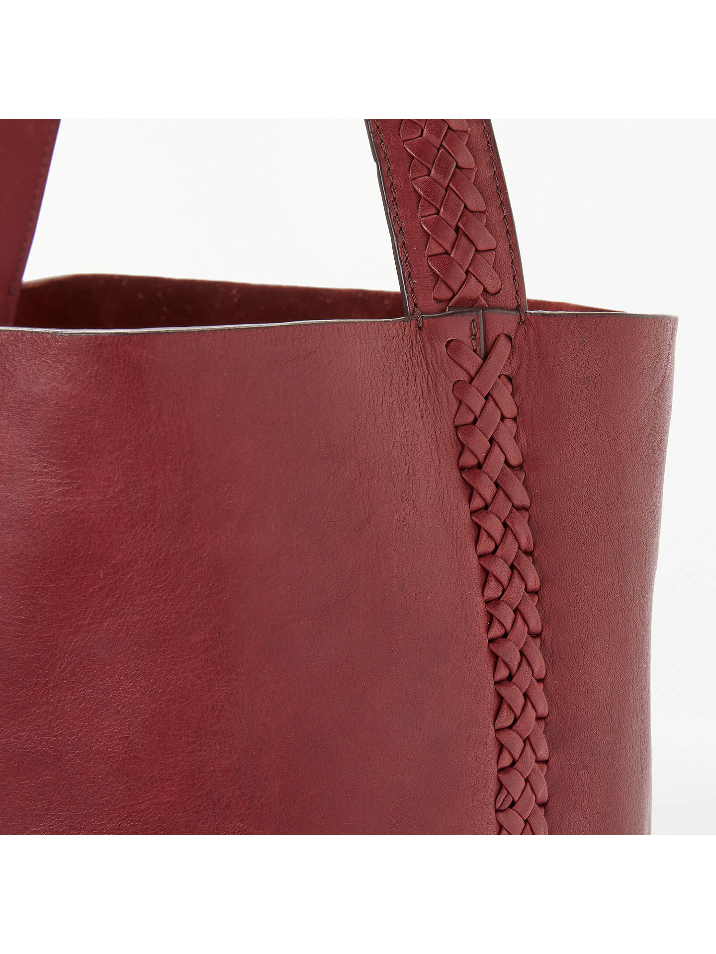 BuyAND/OR Isabella Leather Whipstitch Large Bucket Bag, Wine Online at johnlewis.com