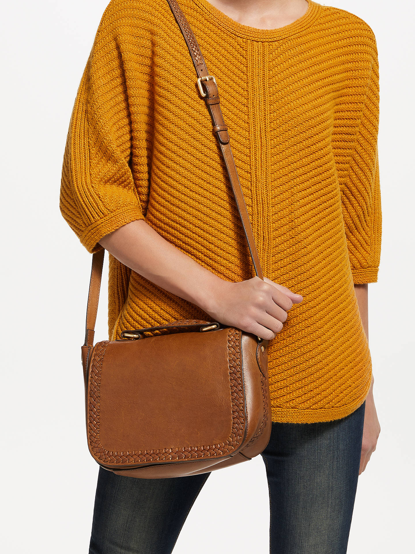 BuyAND/OR Isabella Leather Whipstitch Saddle Bag, Tan Online at johnlewis.com