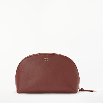 Modern Rarity Carmenere Leather Dome Cosmetic Pouch Purse, Tan