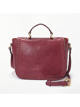 Buy AND/OR Isabella Leather Whipstitch Saddle Bag, Wine Online at johnlewis.com