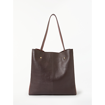Modern Rarity Ribbon Leather Tote Bag, Brown/Red