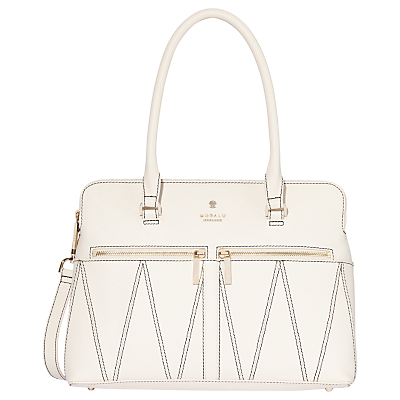 Modalu Pippa Classic Leather Patterned Grab Bag, White Croc