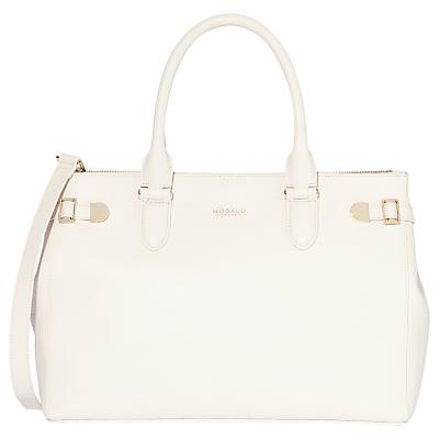 Modalu Emerson Leather Large Grab Bag, White Choc