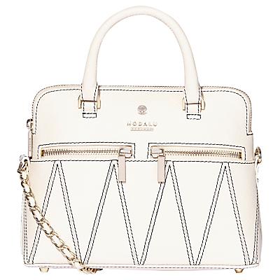 Modalu Pippa Leather Patterned Chain Cross Body Bag, White Choc