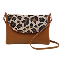 Buy Tula Faux Leo Small Leather Cross Body Flap Bag, Natural Online at johnlewis.com