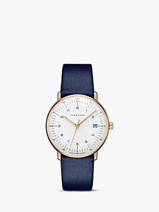 Junghans 047/7851.00 Women's Max Bill Date Leather Strap Watch, Blue/White