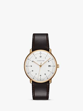 Junghans 041/7872.04 Unisex Max Bill Date Leather Strap Watch, Brown/White