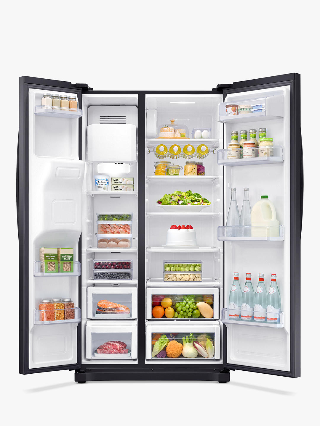 Buy Samsung RS50N3413BC American-Style Freestanding 65/35 Fridge Freezer, A+ Energy Rating, 91cm Wide, Black Online at johnlewis.com