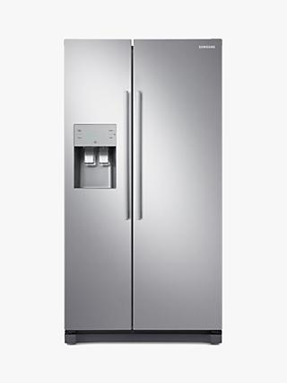 Samsung RS50N3513SL American-Style Freestanding 65/35 Fridge Freezer, A+ Energy Rating, 91cm Wide, Silver