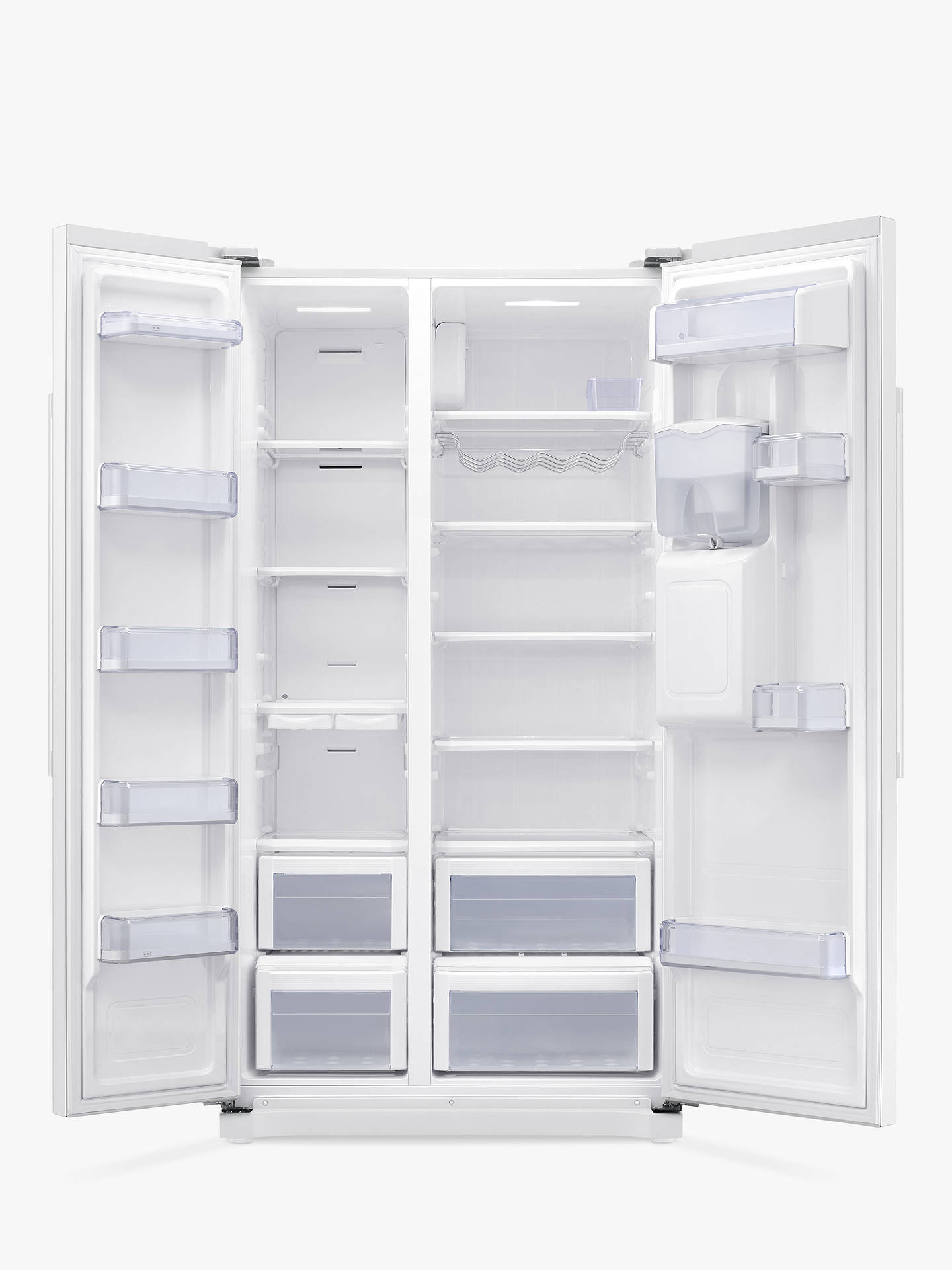 BuySamsung RS52N3313WW Freestanding American Style Fridge Freezer, A+ Energy Rating, 91cm Wide, White Online at johnlewis.com
