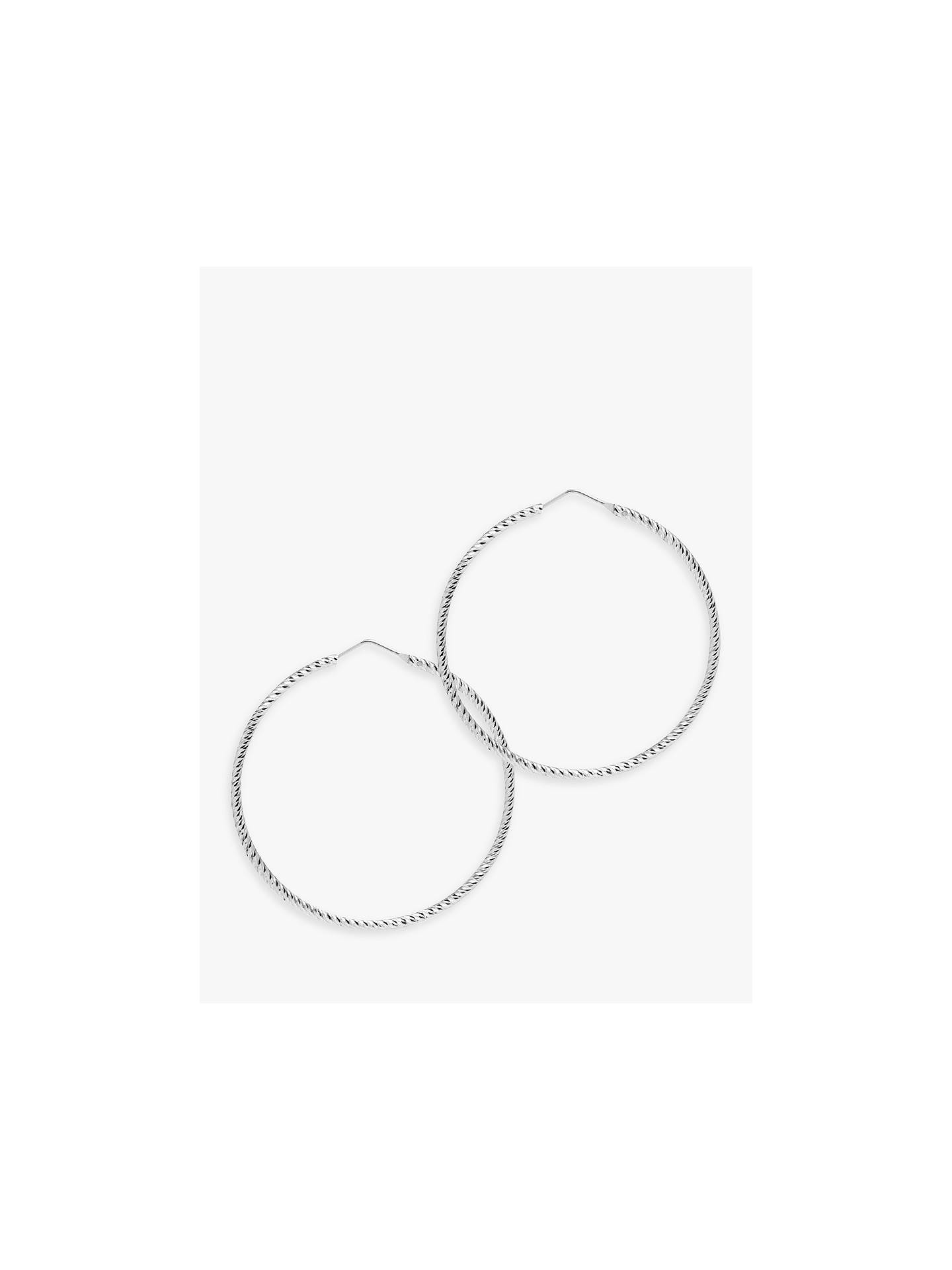 BuyThe Hoop Station La Roma Diamond Cut Sterling Silver Twist Medium Hoop Earrings, Silver Online at johnlewis.com