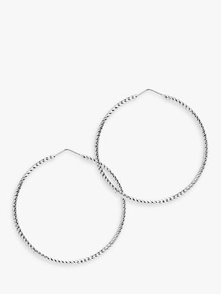 The Hoop Station La Roma Diamond Cut Sterling Silver Twist Medium Hoop Earrings, Silver
