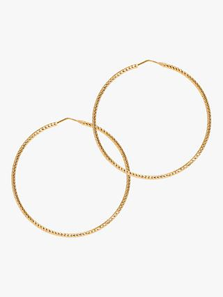 The Hoop Station La Roma Diamond Cut Large Hoop Earrings, Gold