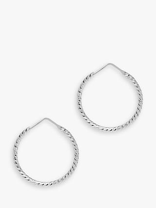 The Hoop Station La Roma Diamond Cut Sterling Silver Twist Small Hoop Earrings, Silver