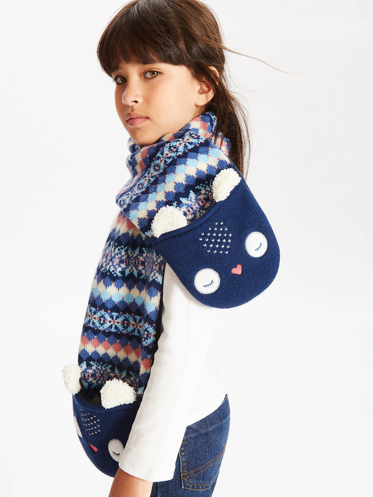 BuyJohn Lewis & Partners Children's Owl Scarf, Navy Online at johnlewis.com