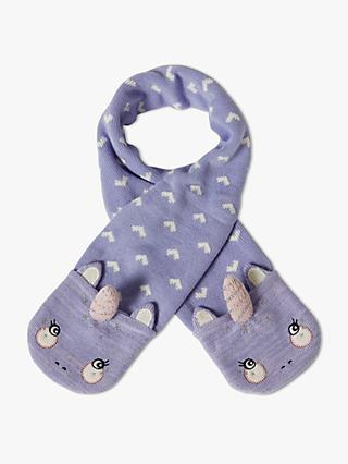 John Lewis & Partners Children's Unicorn Knitted Scarf, Purple