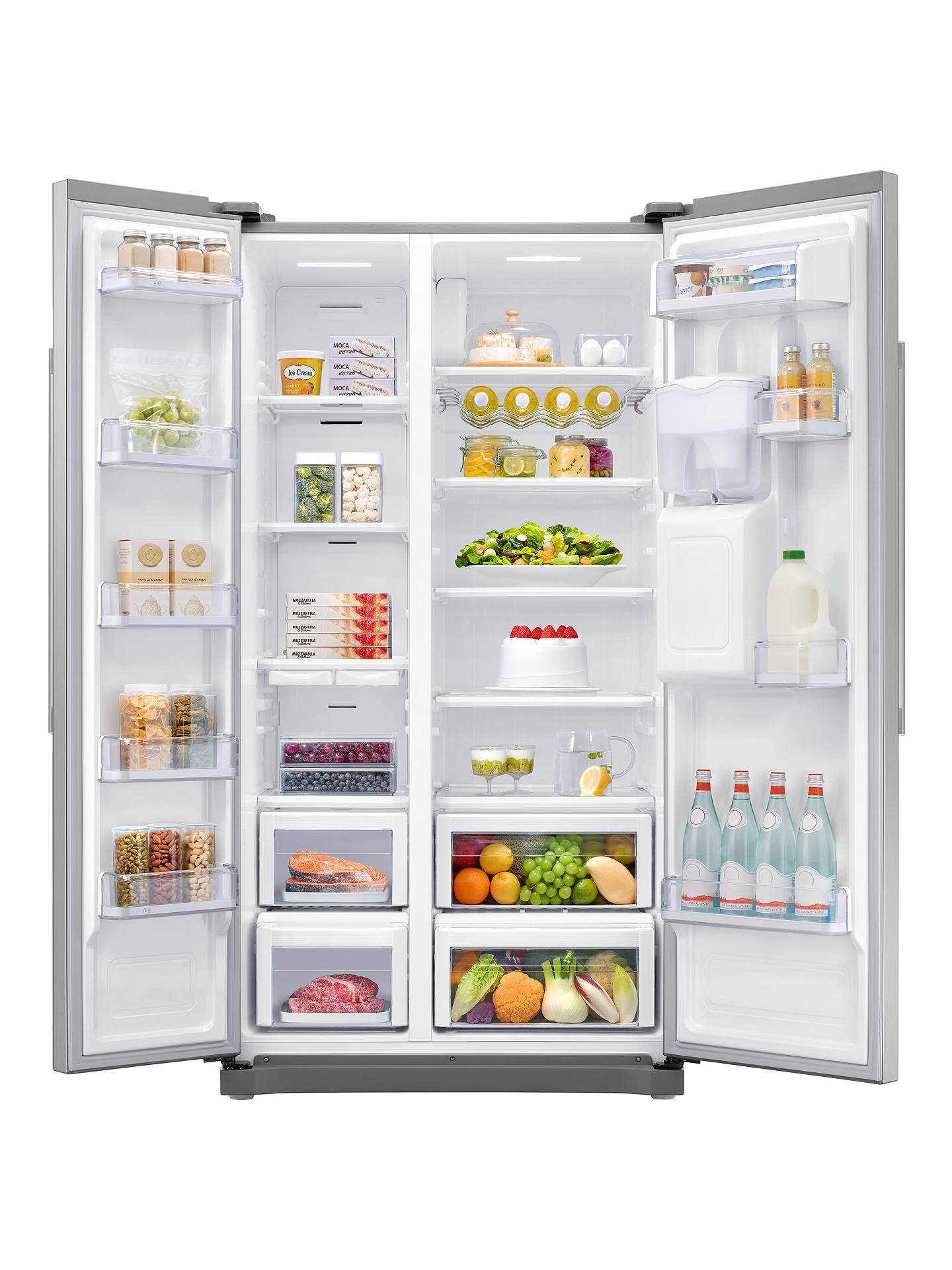 Buy Samsung RS52N3213SA American-Style Fridge Freezer, A+ Energy Rating, 91cm Wide, Clean Steel Online at johnlewis.com