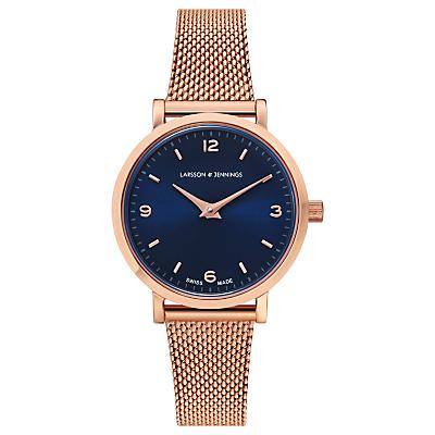 Larsson & Jennings LGN26-CMRG-CS-H-P-RG Women's Lugano Solaris Milanese Bracelet Strap Watch, Rose Gold/Blue