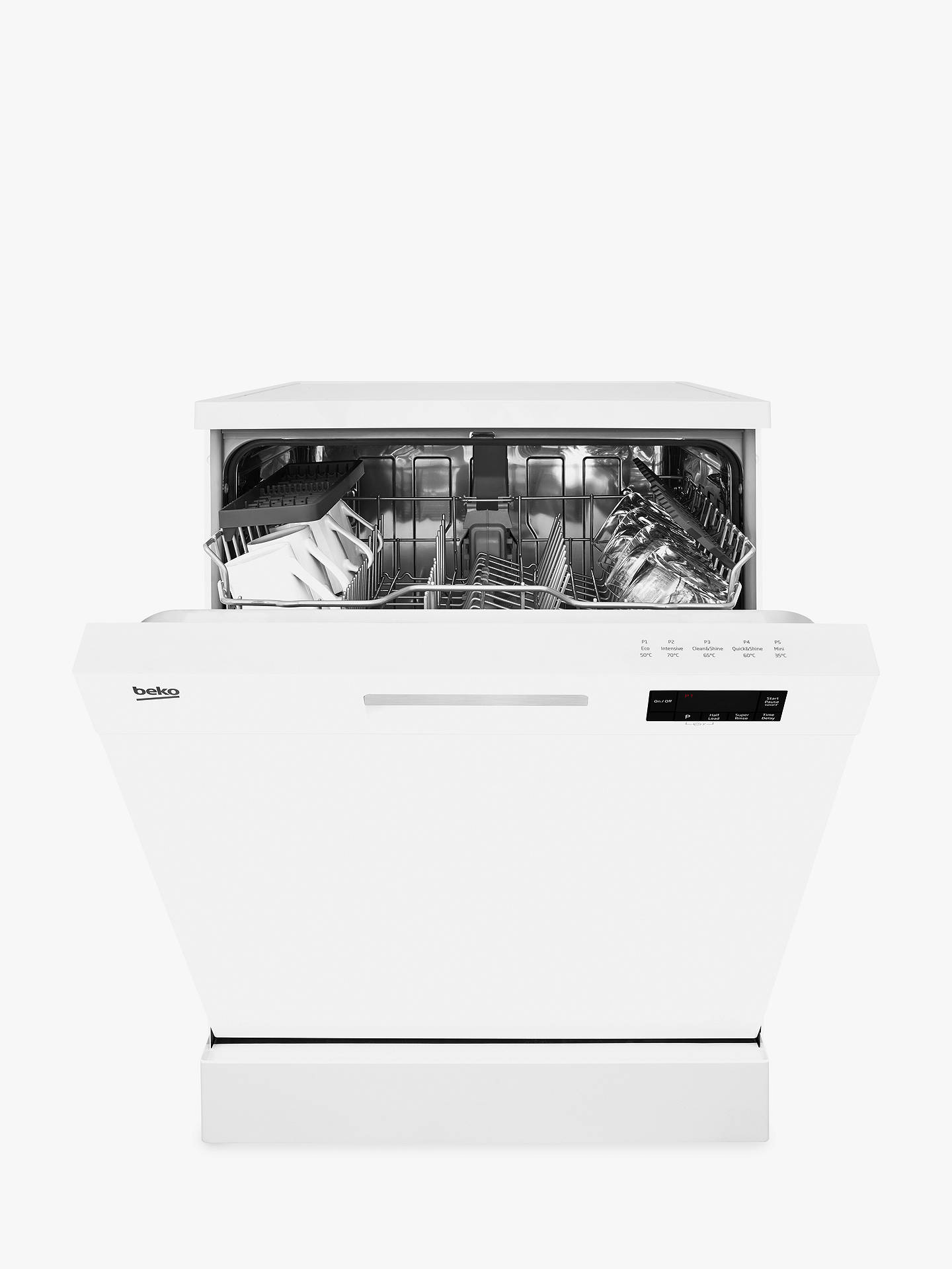 Beko DFN15J10W Freestanding Dishwasher, White at John