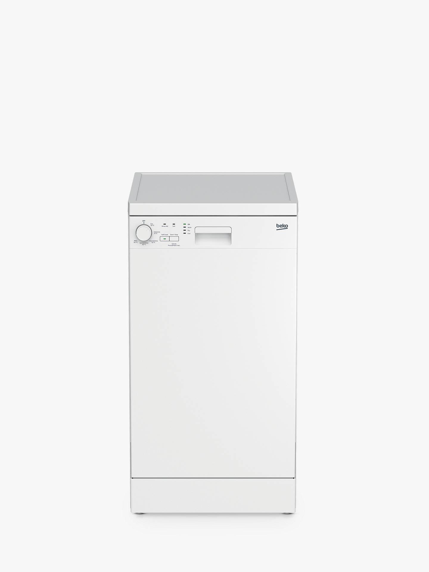 Beko Dfs05 J1 W Freestanding Slimline Dishwasher, White by Beko