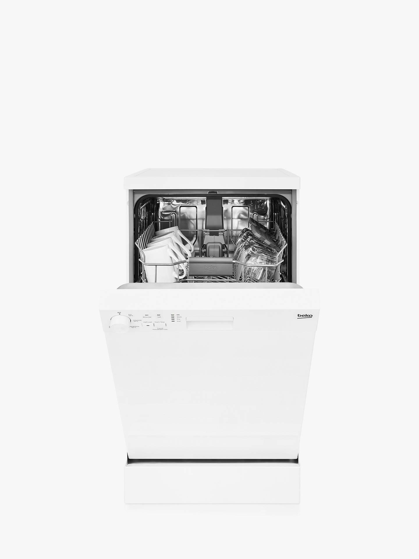 Beko DFS05J1W Freestanding Slimline Dishwasher, White at