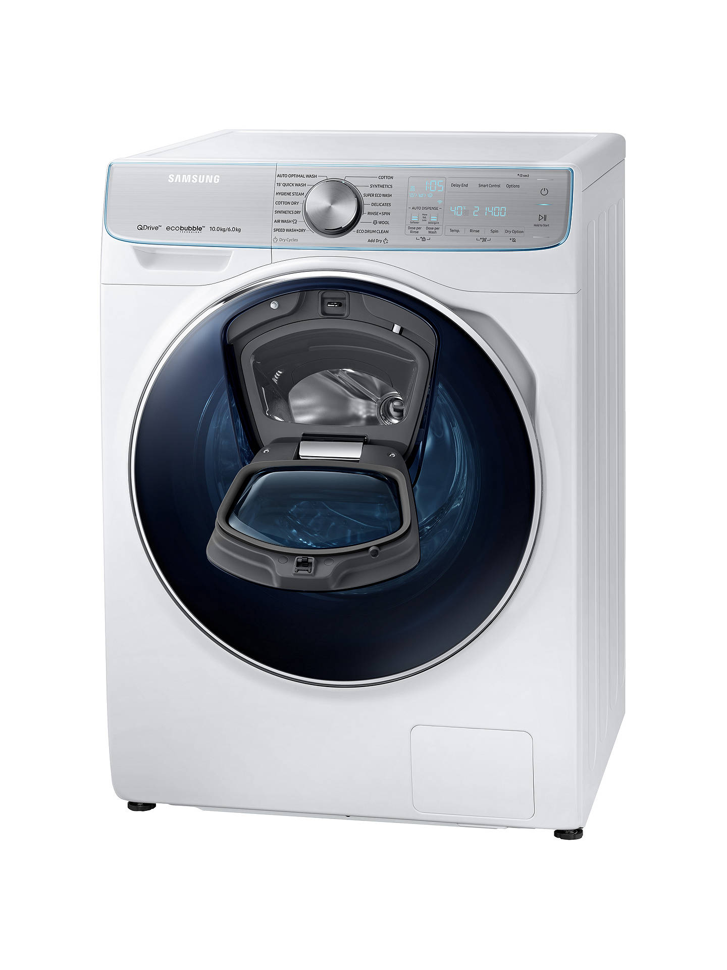 Samsung QuickDrive WD10N84GNOA/EU Freestanding Washer Dryer with AddWash,  10kg Wash/6kg Dry Load, A Energy Rating, 1400rpm Spin, White