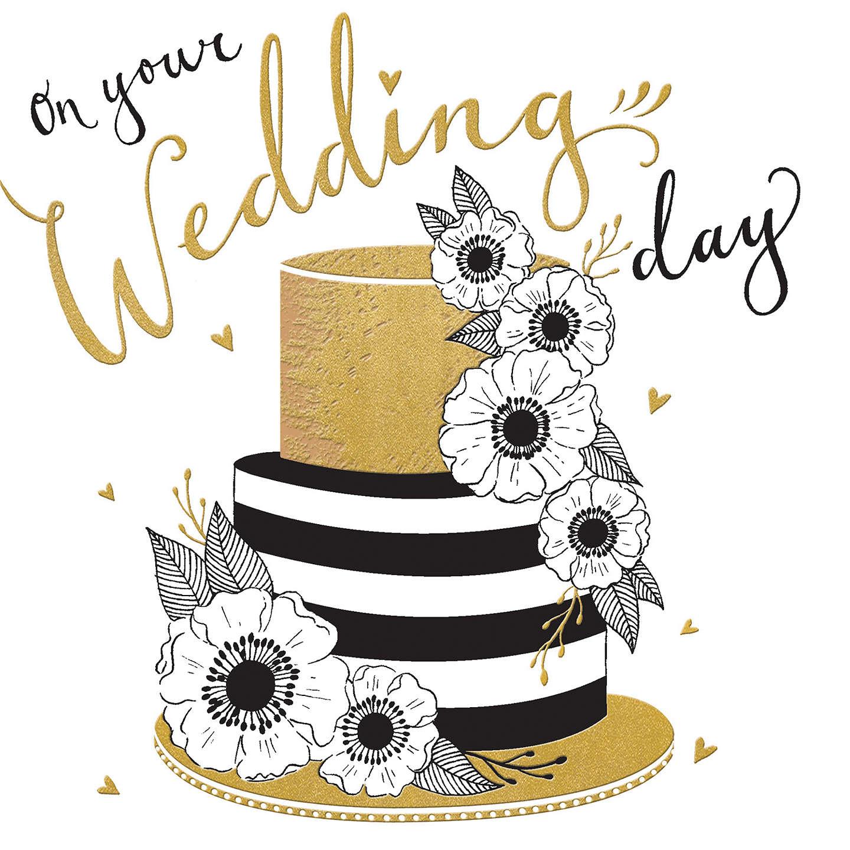 Rachel Ellen Black & Gold Wedding Cake Card at John Lewis