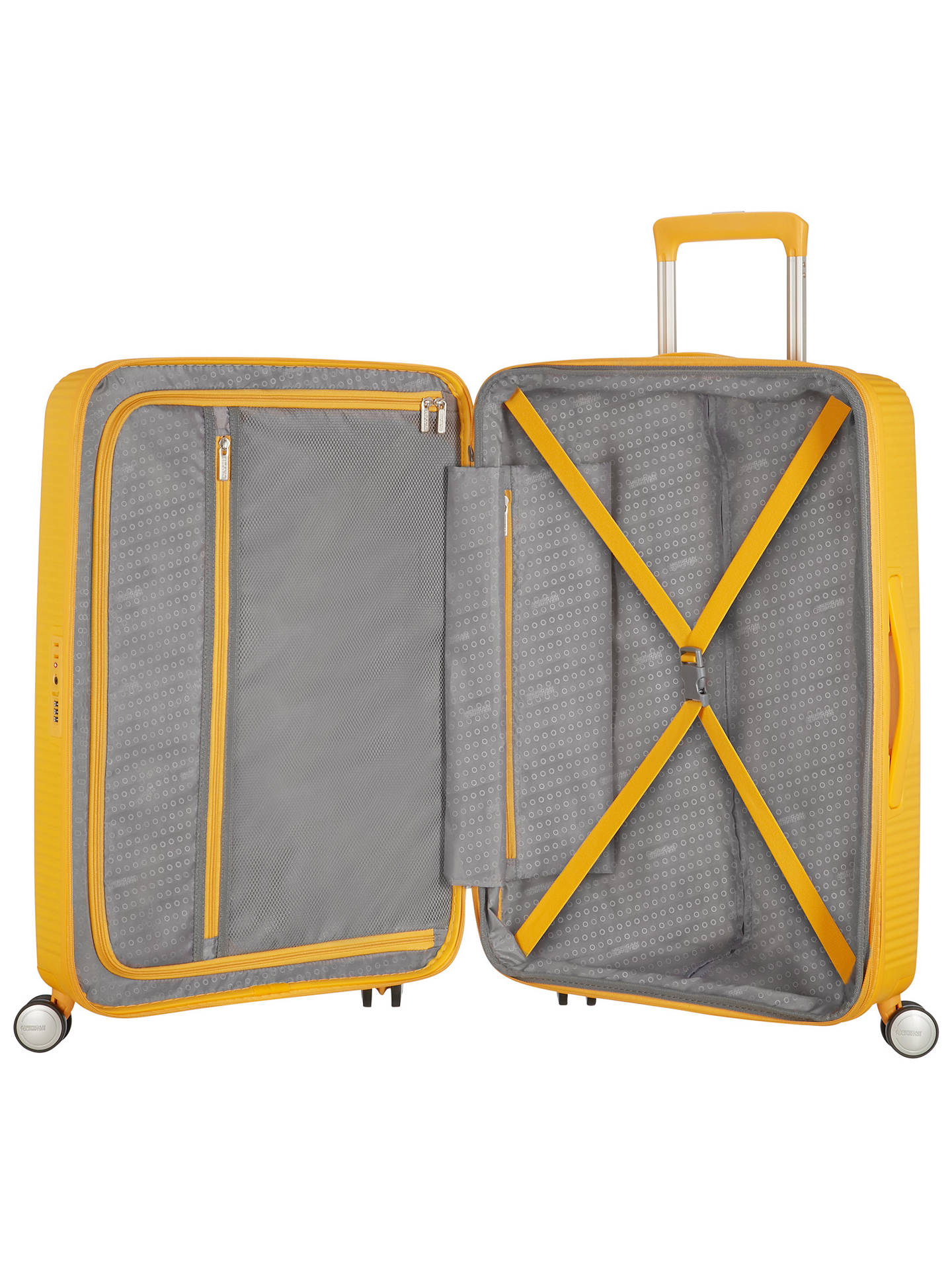 BuyAmerican Tourister Soundbox 4-Spinner Wheel 77cm Large Suitcase, Golden Yellow Online at johnlewis.com