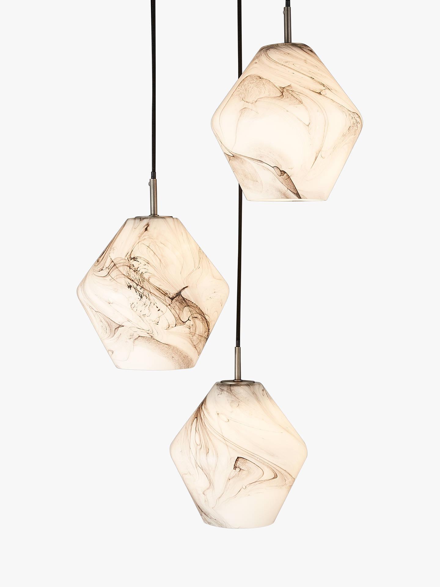 John Lewis Partners Ada 3 Pendant Ceiling Light White Grey