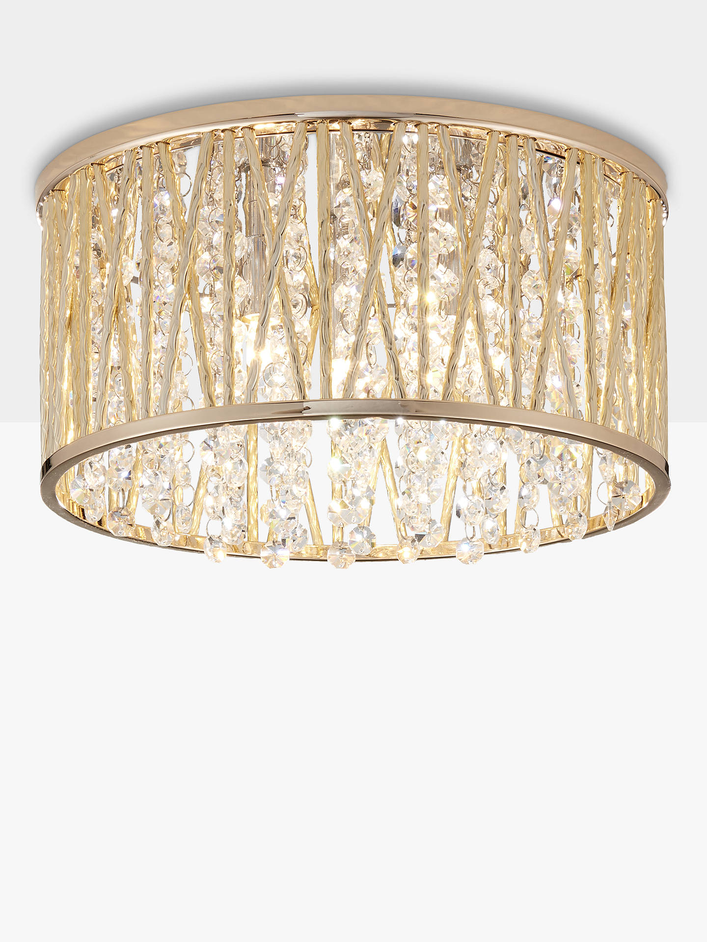 John Lewis Partners Emilia Crystal Drum Flush Ceiling Light Gold
