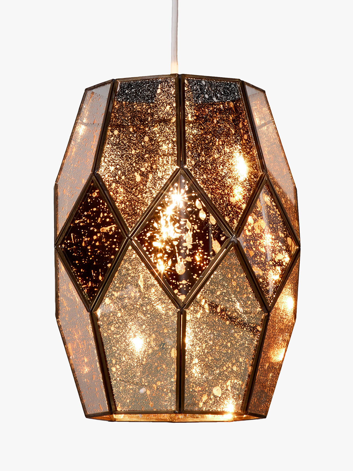 John Lewis Partners Romy Easy To Fit Mirrored Gl Ceiling Shade Gold