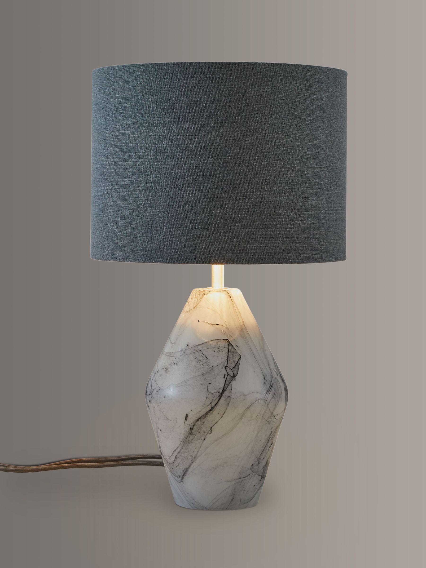 John Lewis Partners Ada Dual Lit Glass Table Lamp White Grey At John Lewis Partners