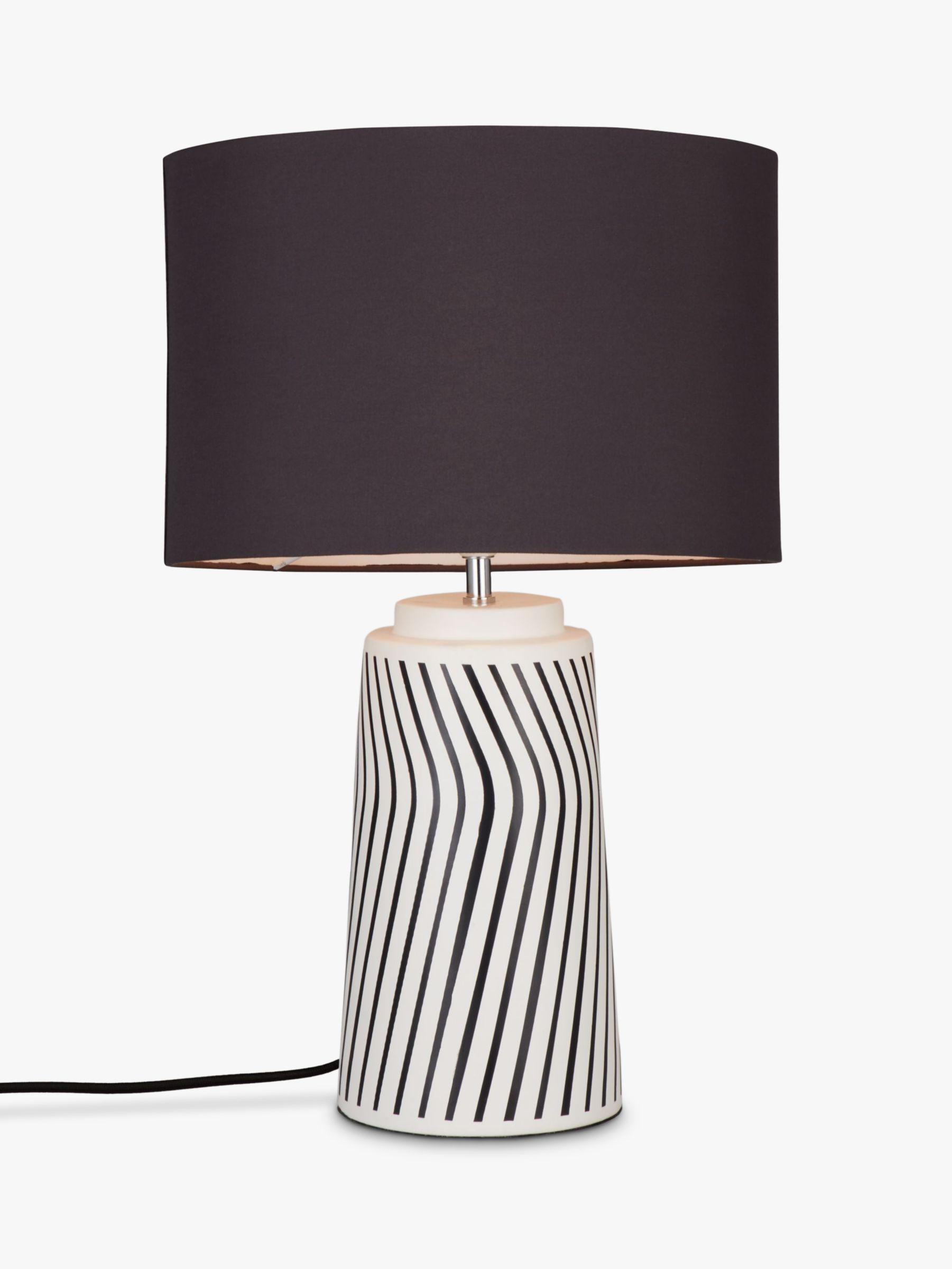 John Lewis Partners Ziggy Ceramic Table Lamp Black White At John Lewis Partners