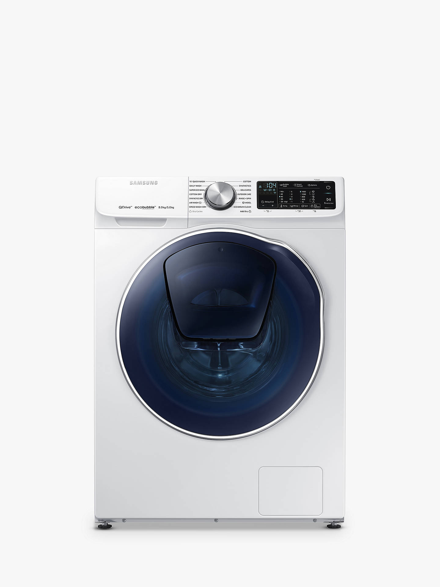 BuySamsung WD80N645OOW Washer Dryer, 8kg Wash/5kg Dry Load, A Energy Rating, 1400rpm Spin, White Online at johnlewis.com