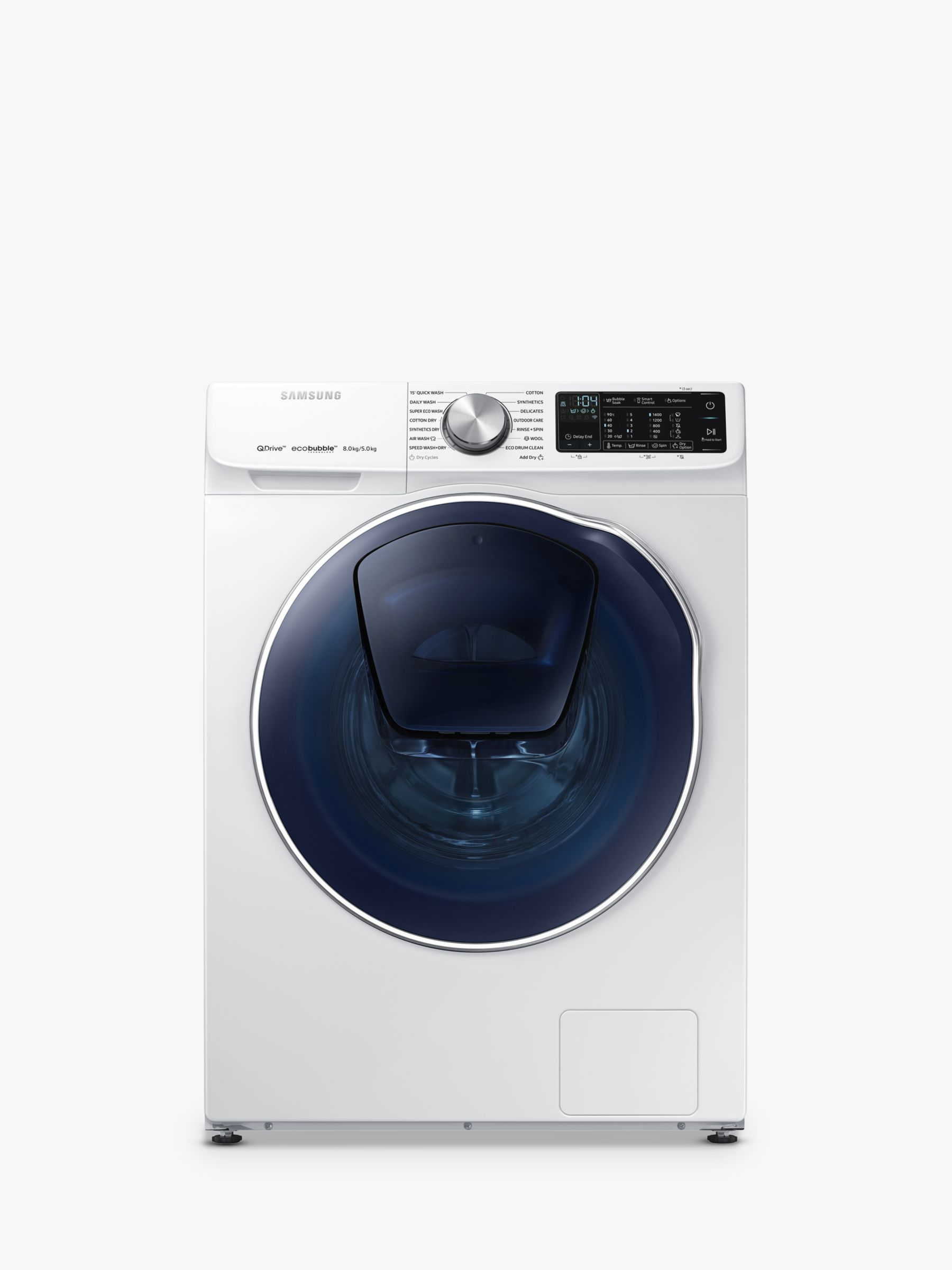 Samsung Samsung WD80N645OOW Washer Dryer, 8kg Wash/5kg Dry Load, A Energy Rating, 1400rpm Spin, White