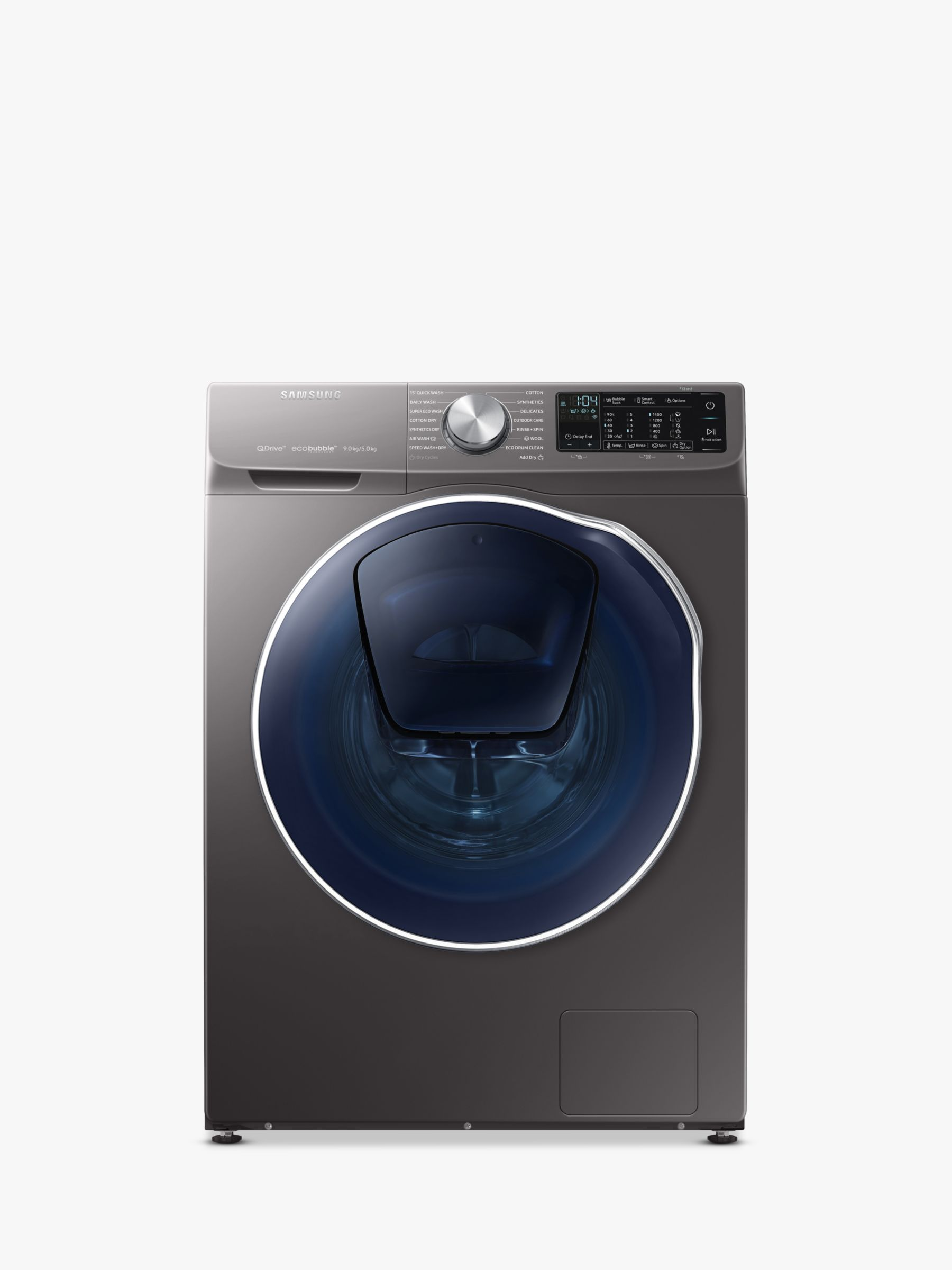 Samsung Samsung QuickDrive WD90N645OOX/EU Freestanding Washer Dryer with AddWash, 9kg Wash/5kg Dry Load, A Energy Rating, 1400rpm Spin, Graphite