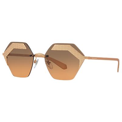 BVLGARI BV6103 Hexagonal Sunglasses, Rose Gold/Grey Gradient