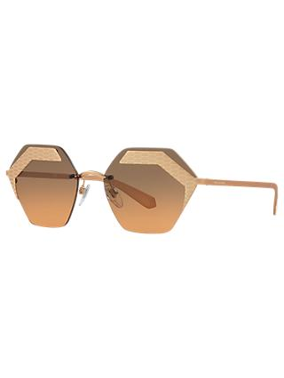 BVLGARI BV6103 Hexagonal Sunglasses, Rose Gold/Grey Gradient