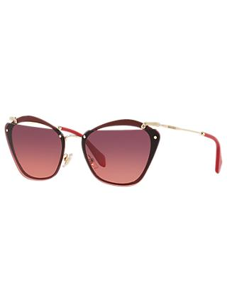 Miu Miu MU54TS Polarised Square Sunglasses, Red/Gold