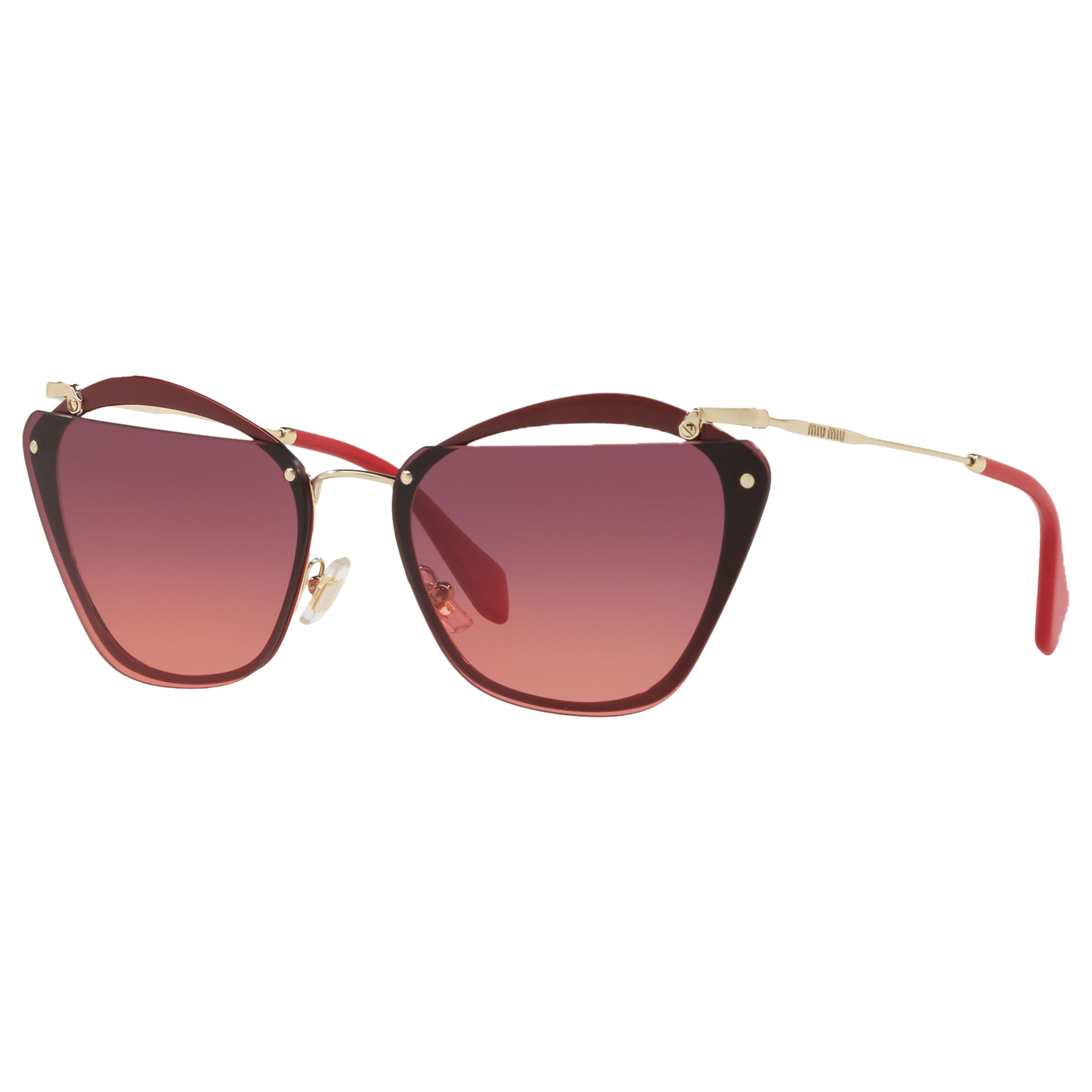 Miu Miu Miu Miu MU54TS Polarised Square Sunglasses, Red/Gold