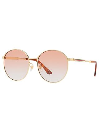 Gucci GG0206SK Polarised Unisex Round Sunglasses, Pink/Gold