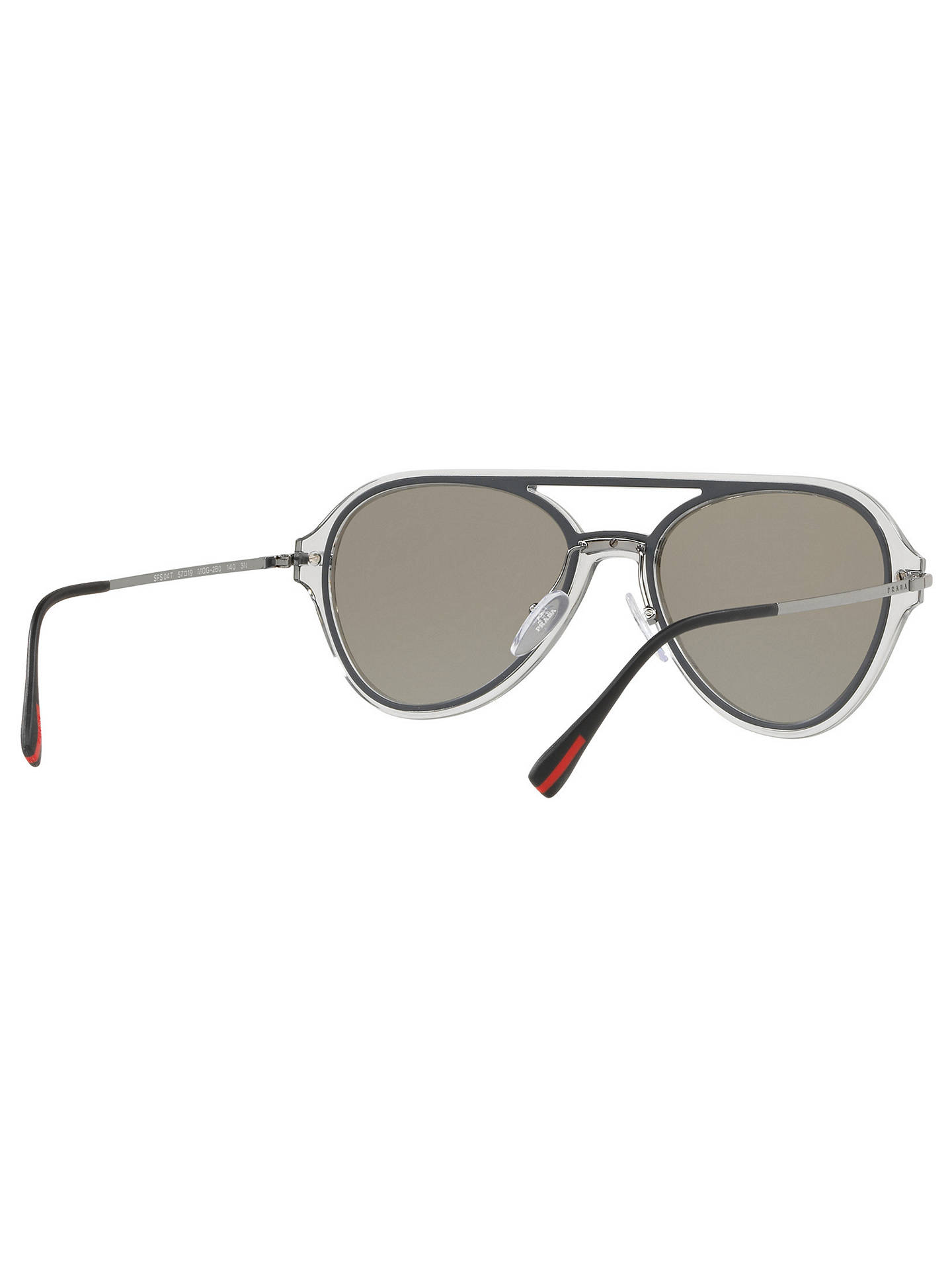 Buy Prada 04TS 57 Men's Polarised Aviator Sunglasses, Silver Online at johnlewis.com