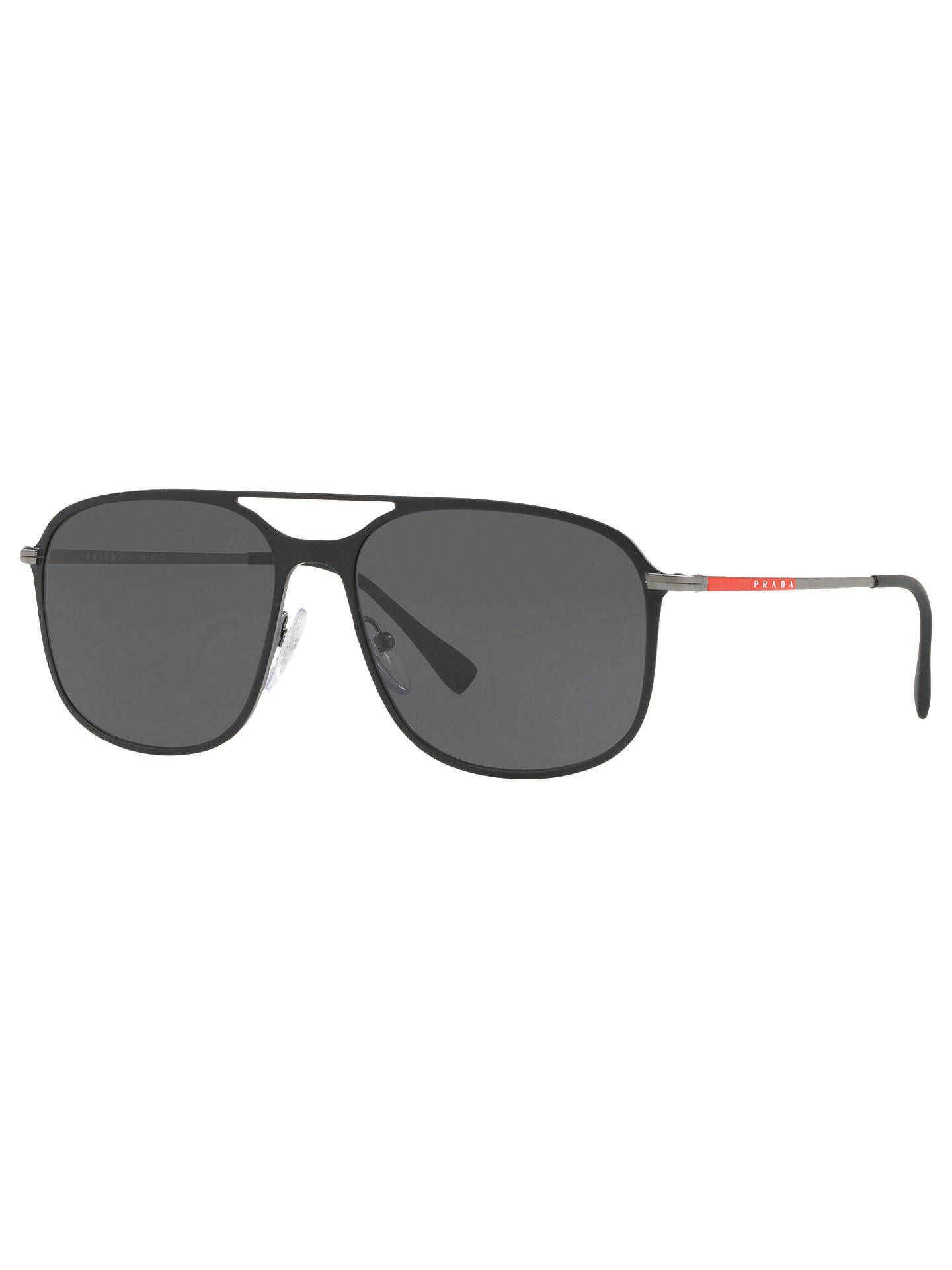 BuyPrada 53TS 56 Men's Aviator Sunglasses, Black Online at johnlewis.com
