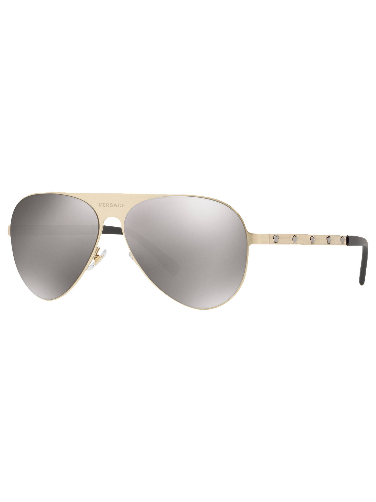 ddb685b3885f Buy Versace VE2189 Unisex Polarised Embellished Aviator Sunglasses, Pale  Gold/Light Brown Online at ...