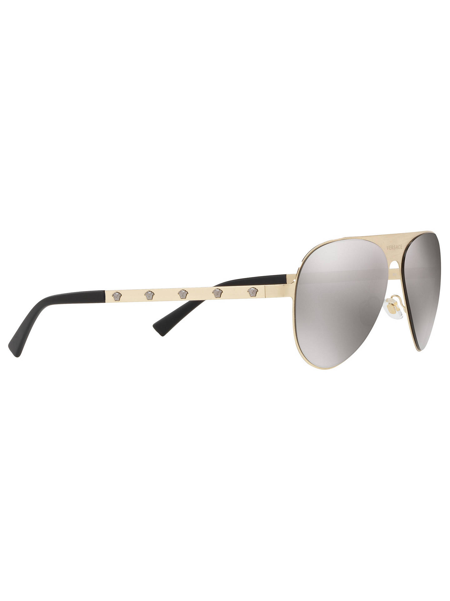 71c830edf719 ... Buy Versace VE2189 Unisex Polarised Embellished Aviator Sunglasses,  Pale Gold/Light Brown Online at